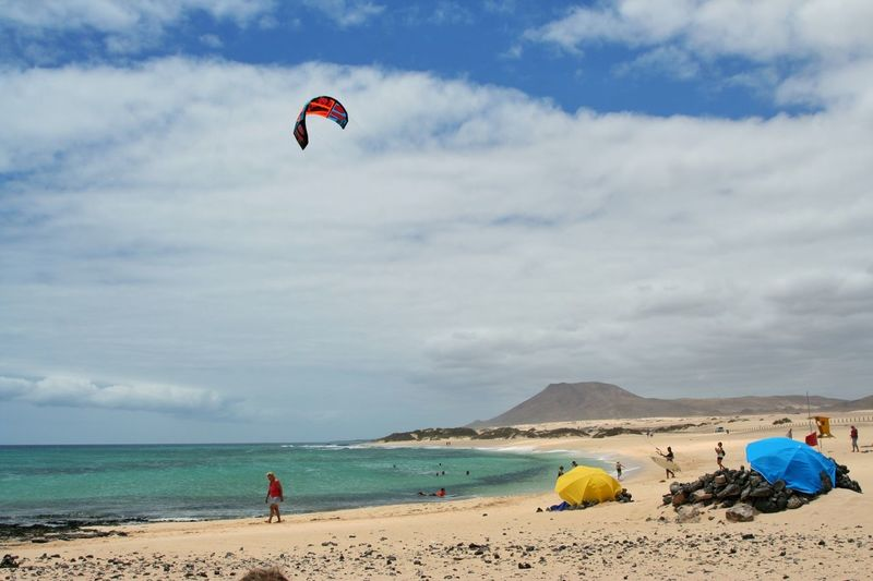 People paragliding at beach against sky