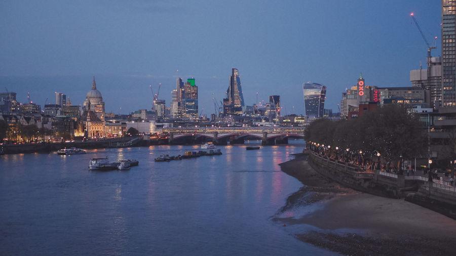 High angle view of thames river at night
