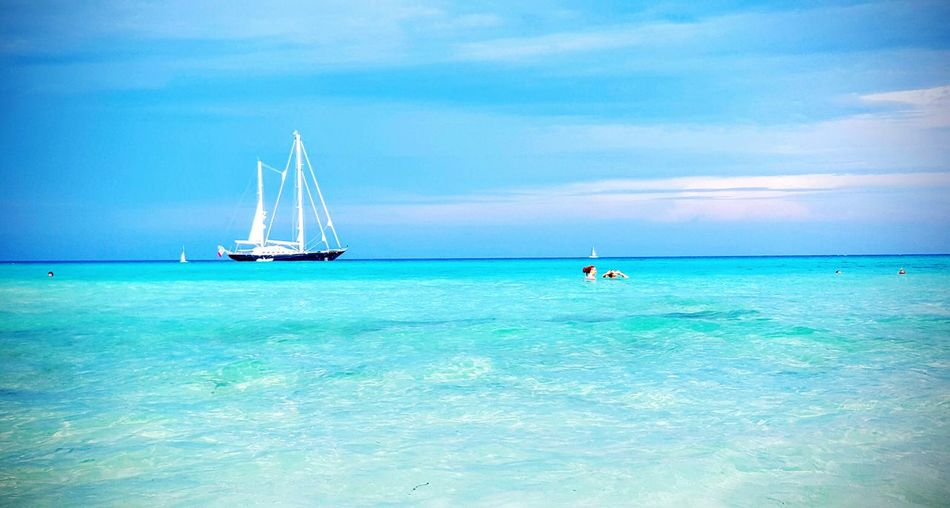 Sailing Sailboat Crystal Clear Waters Eyeemnaturelovers Sky And Sea Summertime Eyeemsea Eyeemphotooftheday Relax Time  Summer Views Salento Puglia Lecce Blue Wave The Essence Of Summer Live For The Story