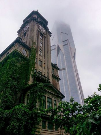 Architecture Building Exterior Built Structure Low Angle View Sky No People Tree Green Color Outdoors City Day Nature China Shanghai Lostintime Skyscraper Neverstoptraveling Raw Photography Like Myphoto Canon50D Travel Destinations Inthepark Best EyeEm Shot The Architect