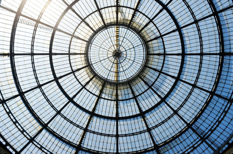The old glass dome of Galleria Vittorio Emanuele II, Milan, Italy.