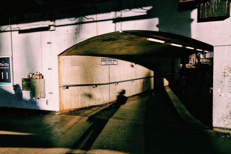 Long shadows on wall