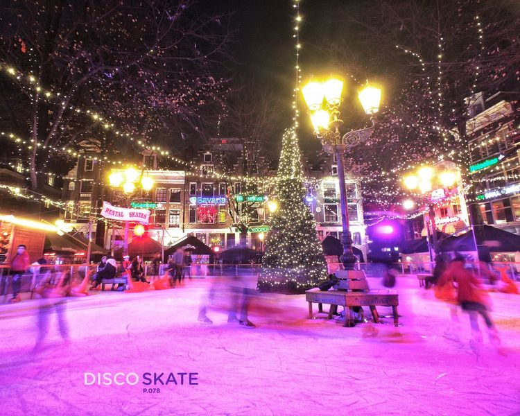 Disco Skate. P.078 Enjoying Life Night Lights City Life Showcase: December Onephotoaday 365project IPhoneography Bestofover Moment Lens Ice Skating Evening Fun Nightphotography Having Fun Amsterdam Leidseplein Colorful