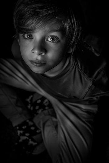 High angle portrait of girl looking away