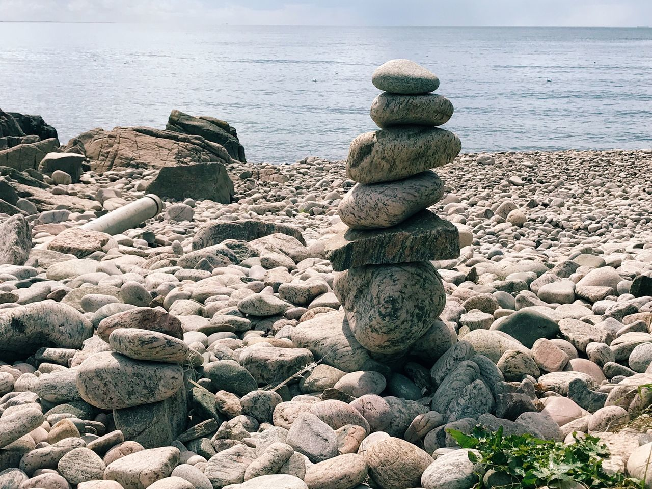 Stack Of Stones At Beach