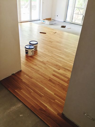 High angle view of hardwood floor at home