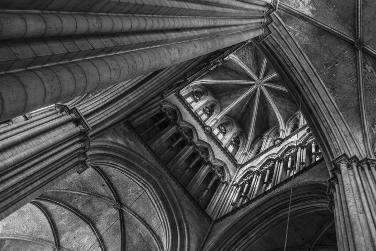 The crossing tower, Rouen Cathedral interior, Normandy, France Architecture Built Structure Low Angle View Place Of Worship Religion No People Ceiling Building Indoors  Spirituality History Architectural Column Architecture And Art Gothic Style Ornate Carving Rouen Cathedral France French Architecture Architecture_collection Black And White Black And White Photography