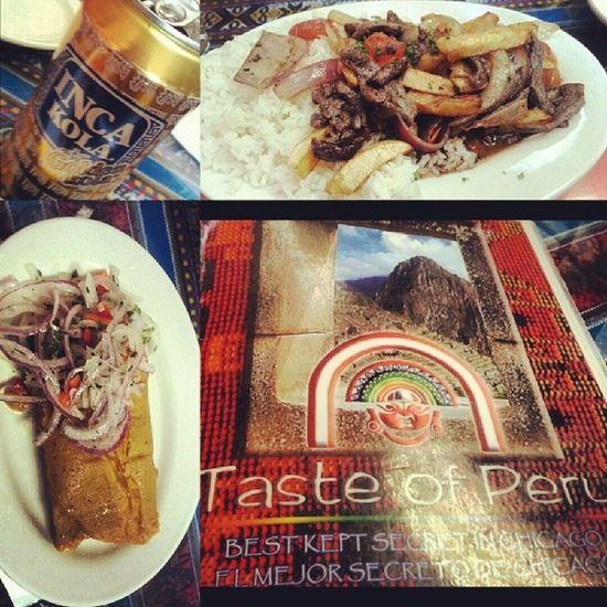 Late lunch Peruvianfood yum! Lomosaltado Tamal Inkacola