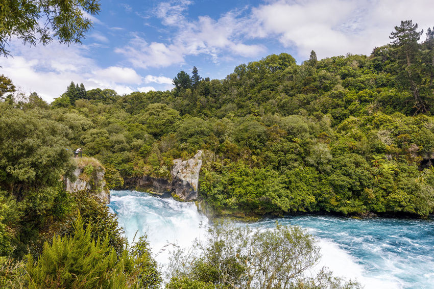 Panoramic view of Huka Falls, New Zealand NZ Beauty In Nature Cloud - Sky Day Environment Flowing Flowing Water Forest Green Color Growth Huka Falls Land Motion Nature New Zealand No People Outdoors Plant Power In Nature River Scenics - Nature Sky Tree Water Waterfall