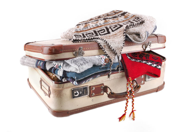 Winter Bag Cap Clothes Holiday Luggage Pullover Still Life Studio Shot Suitcase Travel Vacations Warm White Background