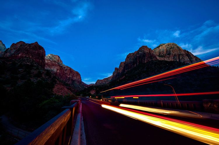 The Week On EyeEm Nightfall Zion National Park Mountain Light Trail Long Exposure Motion Road Blurred Motion Illuminated Sky Colorful Rocks EyeEmNewHere Paint The Town Yellow