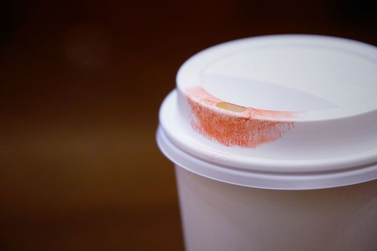 Lipstick mark on a white cup of coffee Beverage Hot Beverage Take Away Coffee Lipstick Lipstick Mark No People Cup Coffee Drink