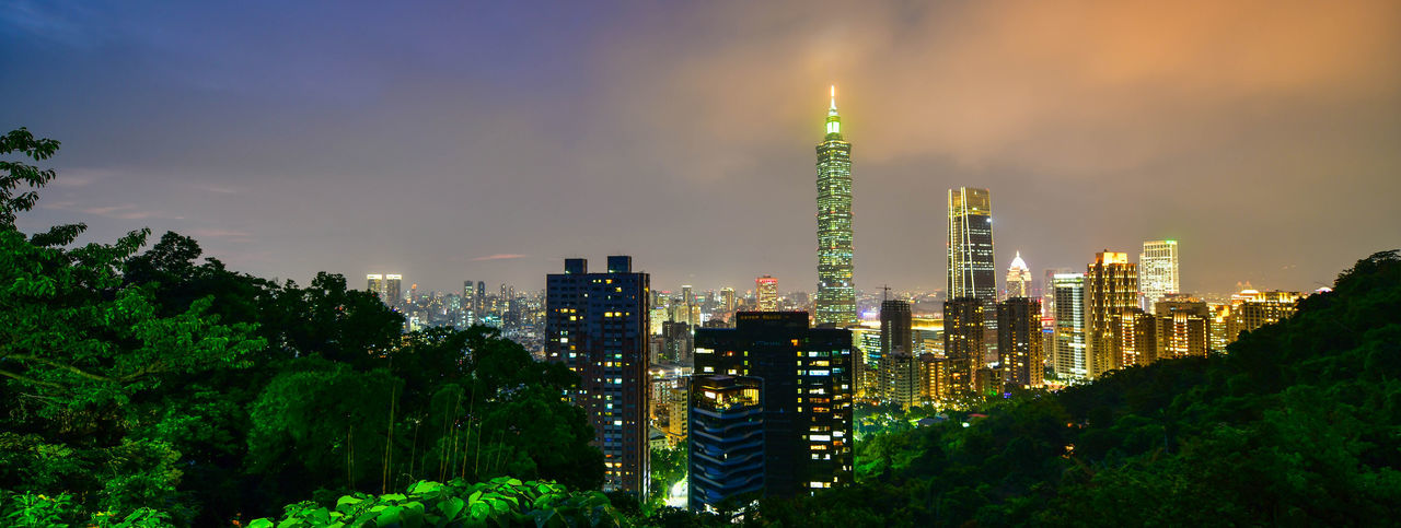 Taipei city skyline and downtown buildings with Taipei 101 skyscraper at Twilight time in Taiwan Built Structure Architecture Building Exterior City Sky Illuminated Building Office Building Exterior Tower Plant Tall - High Skyscraper Modern No People Nature Cityscape Landscape Growth Night Outdoors Financial District  Spire  Taipei 101 Taiwan