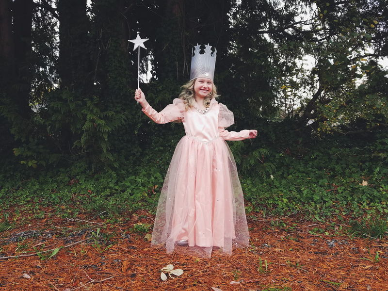 One Person Full Length Outdoors Child Childhood Glinda Wizard Of Oz Halloween Costume