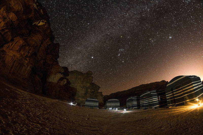Camp in Wadi Rum village at night Star - Space Night Sky Space Astronomy Galaxy Scenics - Nature Nature Beauty In Nature Illuminated Star Field Star Rock Infinity No People Rock Formation Tranquil Scene Tranquility Constellation Rock - Object Milky Way Outdoors Jordan Wadi Rum