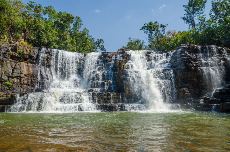 Low angle view of saala waterfall in forest against sky, guinea, west africa