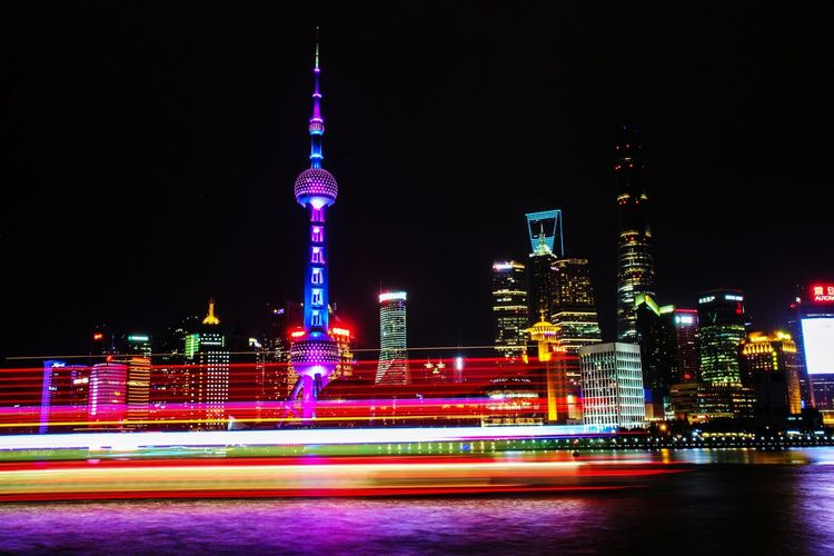 Shanghai, the Bond Nightphotography Night Lights Night Long Exposure Longexposure Longexposurephotography City Life cityscapes Traveling Landscape Eye4photography  EyeEm Best Shots EyeEm Gallery Shanghai China City Illuminated Multi Colored Cityscape Long Exposure Light Trail Speed Sky Architecture Tower Skyscraper Downtown Skyline Urban Skyline Financial District  HUAWEI Photo Award: After Dark