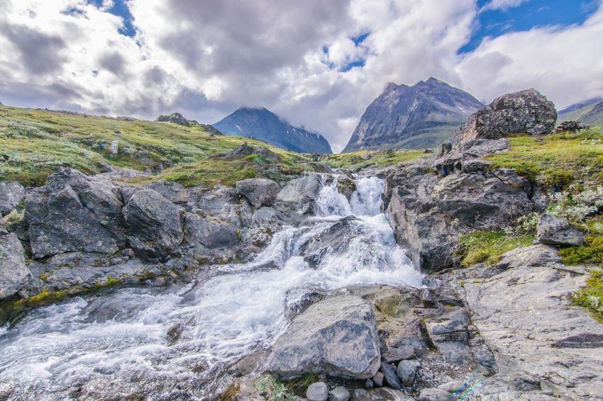 Mountain Beauty In Nature Nature Cloud - Sky No People Outdoors Stream Waterfall Sweden Hiking Fjallravenclassic Lappland Water