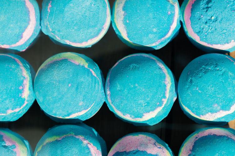 Full frame shot of blue soap
