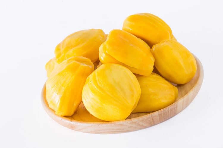 Jackfruit, ripe fruit, sweet white background. Dish Seeds Close-up Copy Space Cut Out Food Food And Drink Freshness Fruit Group Of Objects Healthy Eating Hessian Sack Indoors  Jackfruit Jute Medium Group Of Objects Ripe SLICE Studio Shot Sweet Temptation White Background Yellow
