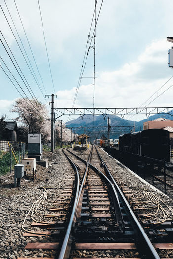 Train Rail Transportation Track Railroad Track Transportation Sky Cable Mode Of Transportation Nature Electricity  Connection Day The Way Forward Cloud - Sky No People Direction Public Transportation Power Line  Diminishing Perspective Technology Outdoors Power Supply Long