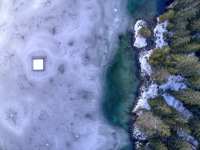 Frozen Ice Winter Birdseyeview Bluewater Dronephotography Lake Lakeshore
