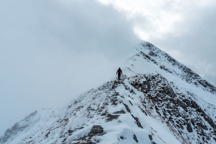 Hiker standing on snowcapped mountain