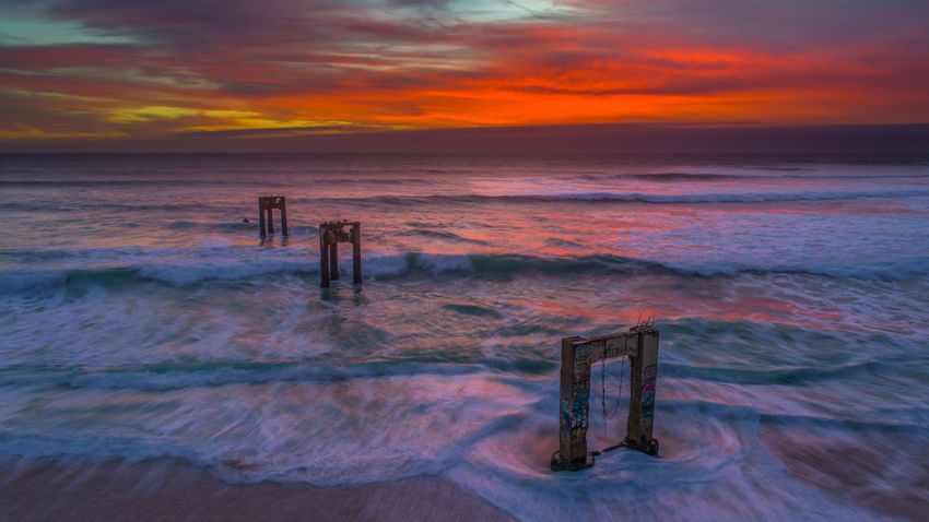 Davenport, California ruined pier at sunset capture with DJI Phantom 4 pro Drone  Aerial View Beach Beauty In Nature Cloud - Sky Dji Dji Phantom Horizon Horizon Over Water Land Motion Nature No People Outdoors Post Scenics - Nature Sea Sky Sport Sunset Tranquility Water Wave Wooden Post