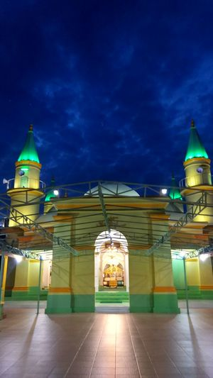 Night Illuminated Travel Destinations Architecture Travel Tourism Built Structure City Sky Cloud - Sky Clock No People Outdoors Mosque PenyengatIsland Kepriwonderful