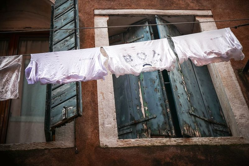 Out to dry Window No People Low Angle View Residential Building Built Structure Day Architecture Building Exterior Outdoors Laundry Laundry Line Laundryday Laundry Hanging Alley Wooden Shutters Clothesline EyeEmNewHere Lookingup Whatisee Venice, Italy