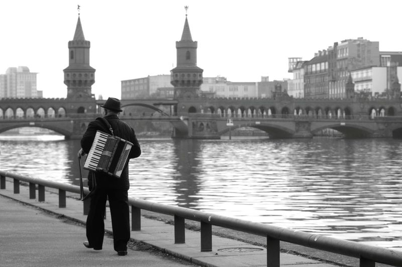 Capture Berlin Musician Spree River Berlin Walk By The River Black And White Discover Berlin