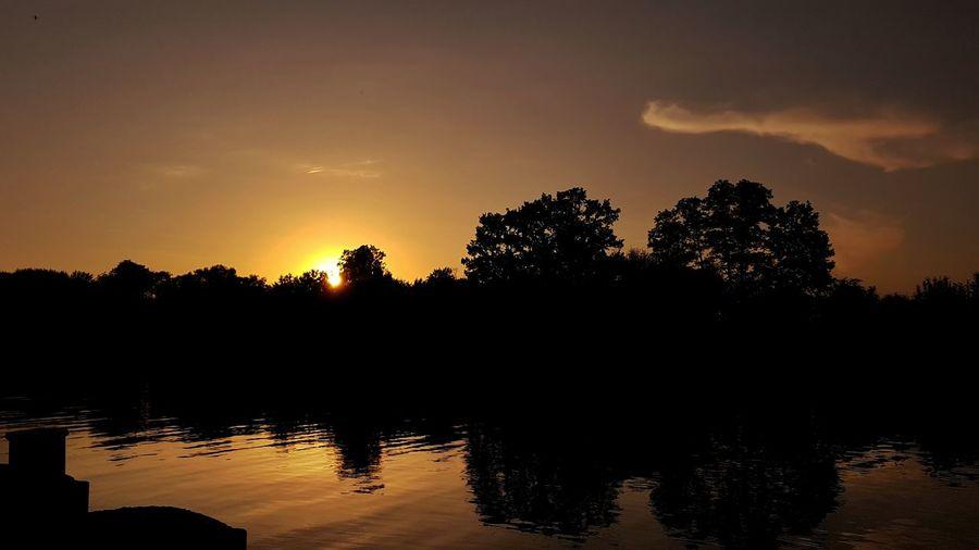 Polska Rudziniec Tree Water Sunset Lake Tree Area Silhouette Forest Mountain Reflection Sky