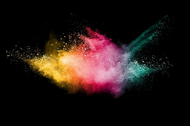 Abstract color powder explosion on black background. Advertising Architecture Cloud Explosion Green Light Overlay Red Storm Art Background Black Blast Blue Color Colour Cosmic Dust Fire Particles Powder Space Splash Splatter Yellow
