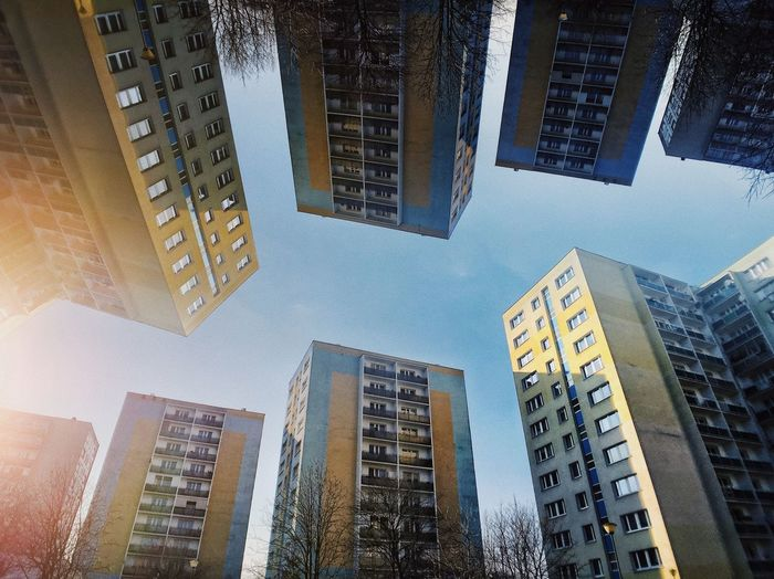 Architecture_collection Poland Reflection The Architect - 2018 EyeEm Awards Abstract Building Exterior City Clear Sky Concrete Housing Low Angle View Modernism Residential District