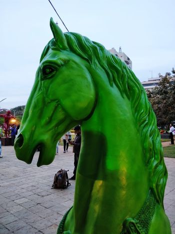 Extinct Dinosaur Green Color Statue Day Sky Outdoors