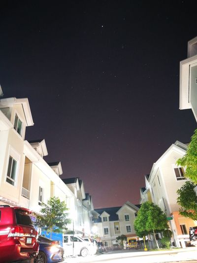 Night Photography Houses Stars