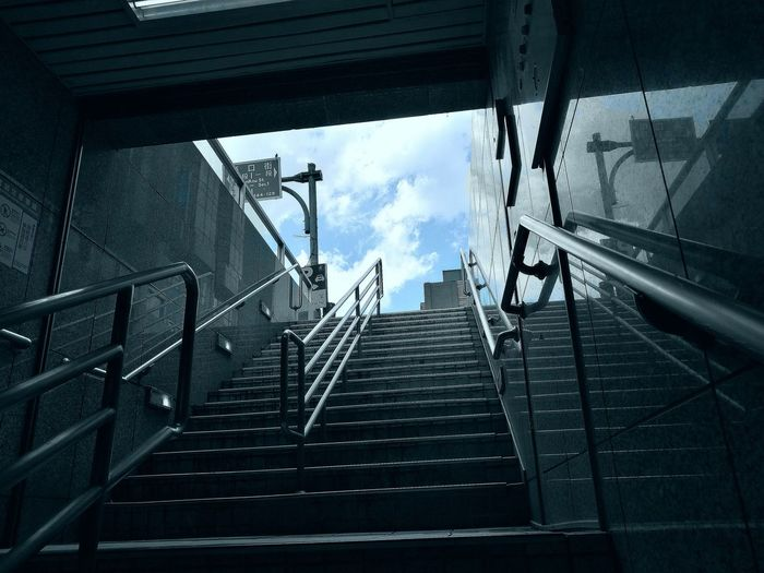 Steps And Staircases Low Angle View Sky No People Day Cloud - Sky Subway Subway Station Taiwan ASIA Huaweiphotography 台灣 P9 Huawei HuaweiP9 Leicacamera Huawei P9 Leica City Lifestyles Asian Culture