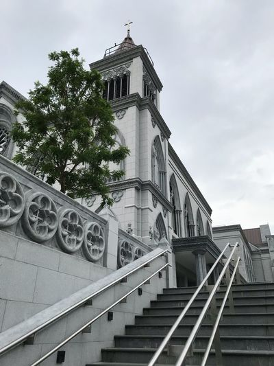 Church Christ Catholic Church Catholic Cathedral Church Architecture Built Structure Low Angle View Staircase Sky Building Exterior Railing Steps And Staircases Day Steps Spirituality Outdoors No People Religion Tree