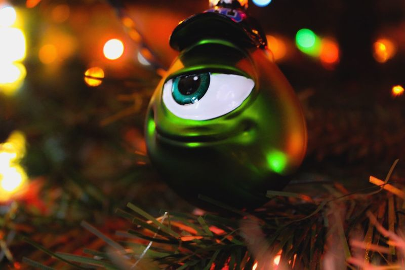 Monsters University Monsters INC Illuminated Christmas Night Christmas Decoration Celebration Christmas Lights Decoration Holiday Close-up No People Christmas Ornament christmas tree Lighting Equipment Indoors  Tree Holiday - Event Glowing Green Color