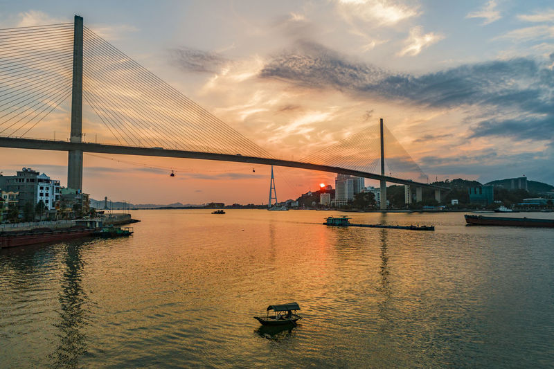 Ha Long Bay Ha Long City Water Sunset Transportation Cloud - Sky Bridge - Man Made Structure Architecture Mode Of Transportation Connection Nautical Vessel Bridge Sky Bay