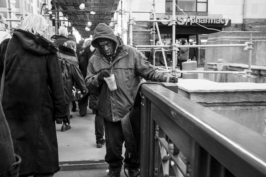 Homeless Man Street Photography Black And White Man