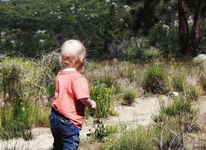 Side View Of Baby Boy Standing On Field In Forest
