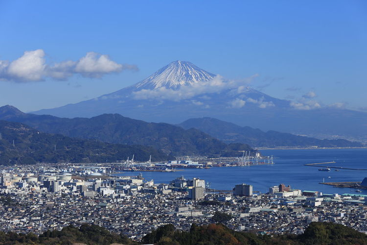Fuji Mountain And Fujiyoshida Town Against Sky