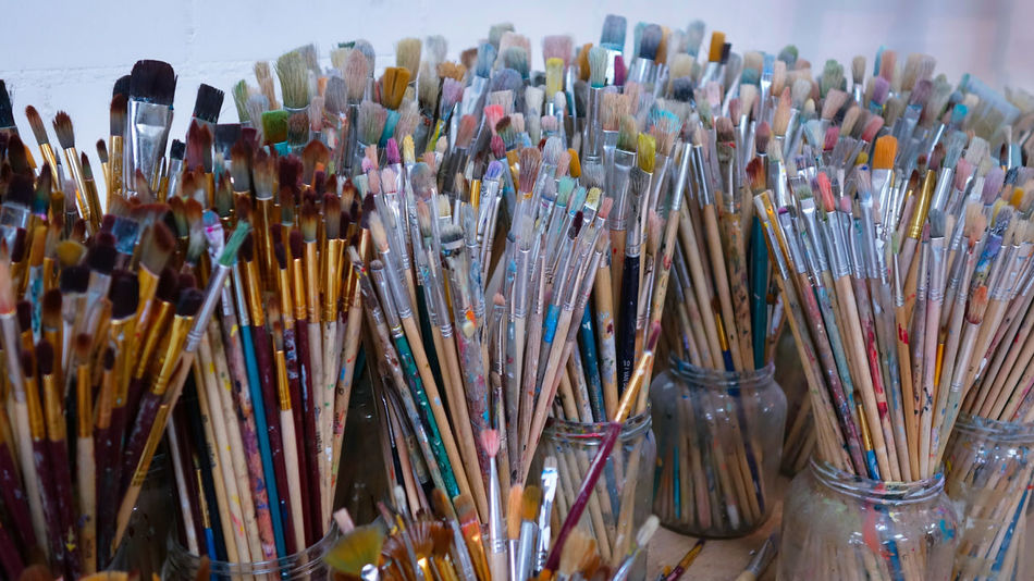 Multi Colored Large Group Of Objects Variation Close-up No People Indoors  Day Atelier Art Brushes