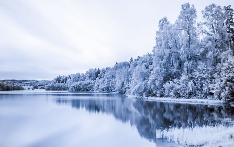Scenic infrared view of lake against sky