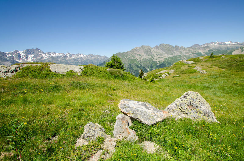 Earth Peace Serenity Beauty In Nature Clear Sky Day Ecology Grass Green Color Landscape Mountain Mountain Peak Mountain Range Nature No People Outdoors Peaceful Rock - Object Scenics Sky Tranquil Scene Tranquility Adventure Green Peak Scenery Blue Sky