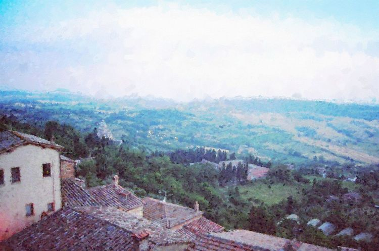 A lovely scenic photograph from hill town Montepulciano looking down into the Tuscan valley with the cathedral San Biagio, with an impressionist painting effect. Building Exterior Day High Angle View Impressionism Italy Landscape Nature No People Outdoors Rooftops Sky Sky And Clouds Tranquil Scene Tranquility Tree Tuscany Countryside Valley
