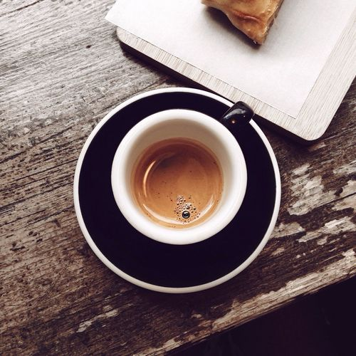 appreciating the little things☕️ Coffee Cup Espresso Drink Food And Drink High Angle View Table Indoors  Close-up CAFE CRÉMA Minimalism Apfel Strudel Apple Strudel Caffeine Berlin