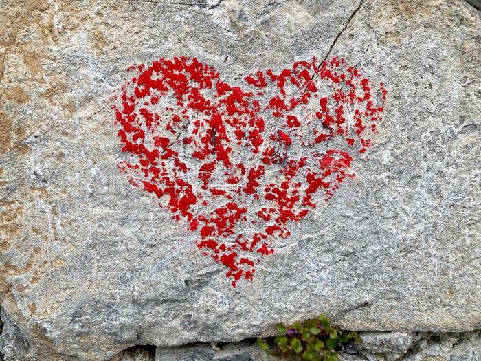 High angle view of heart shape on wall