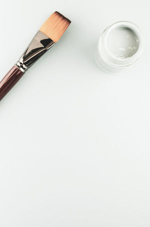 Minimalist Close-up Concept Copy Space Directly Above High Angle View Indoors  No People Paint Can Paintbrush Painting Simplicity Single Object Still Life Studio Shot Table User Space White Background White Color Wood - Material